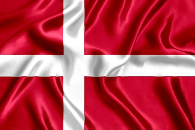 Drapeau du danemark en soie close-up background