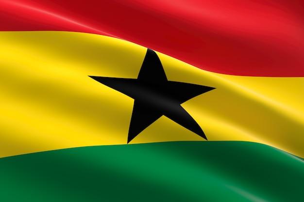 Drapeau du ghana. 3d, illustration, de, les, drapeau ghanéen, onduler