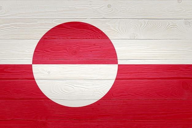 Drapeau du groenland peint sur fond de planche de bois ancien