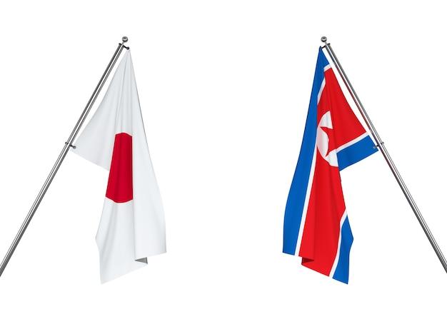 Drapeau du japon et drapeau de la corée du nord
