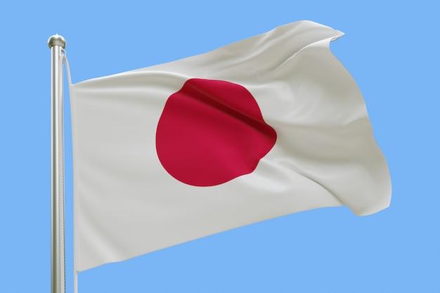 Drapeau du japon sur mât ondulant dans le vent isolé sur fond bleu