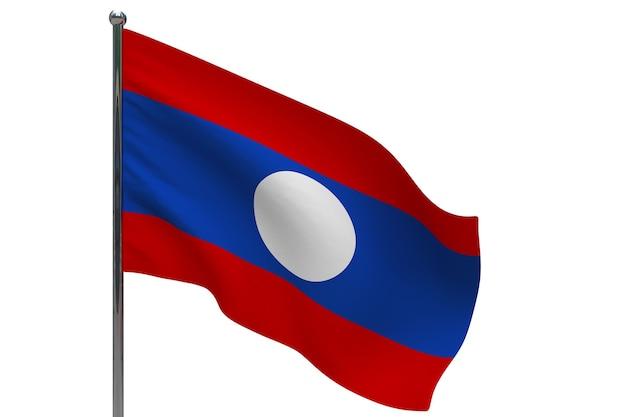 Drapeau du laos sur poteau. mât de drapeau en métal. drapeau national du laos illustration 3d sur blanc