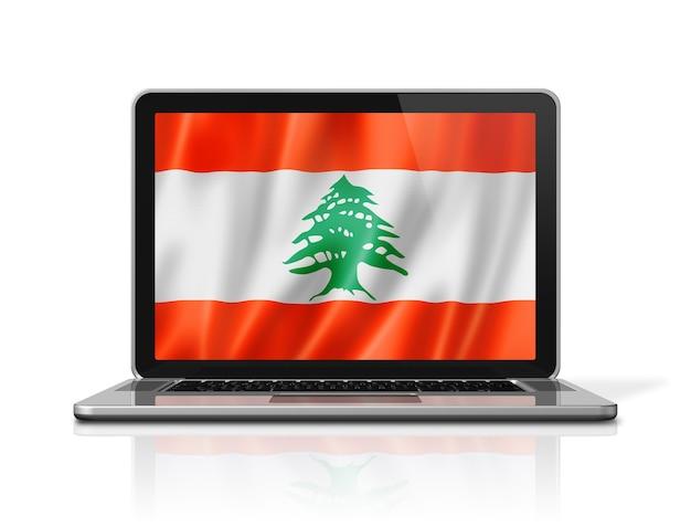 Drapeau du liban sur écran d'ordinateur portable isolé sur blanc. rendu d'illustration 3d.
