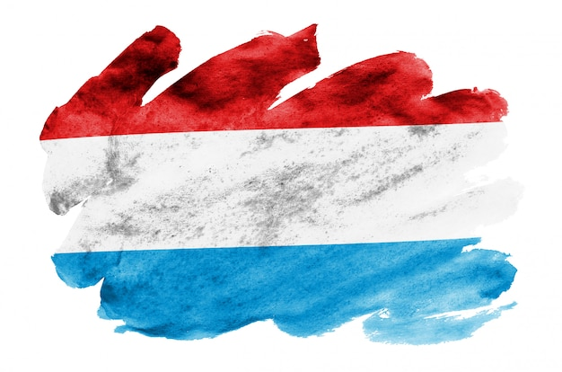 Le drapeau du luxembourg est représenté dans un style aquarelle liquide isolé sur blanc