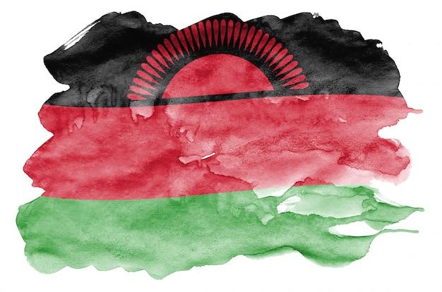 Le drapeau du malawi est représenté dans un style aquarelle liquide isolé sur blanc
