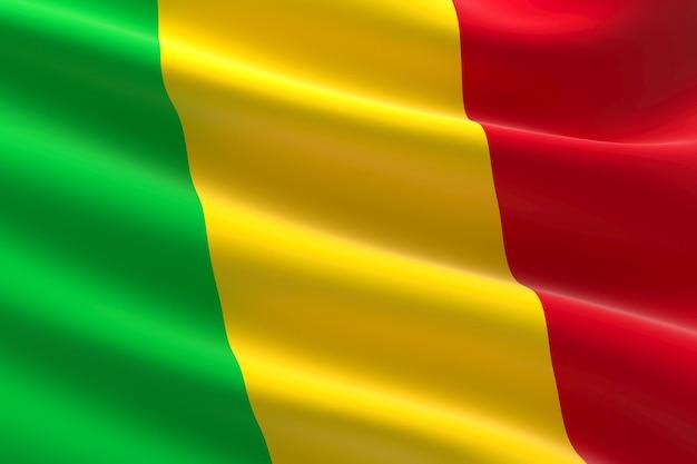 Drapeau du mali. illustration 3d du drapeau malien.