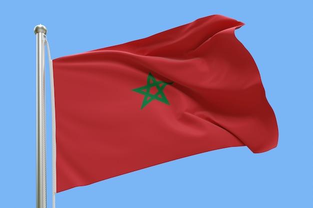 Drapeau du maroc sur mât ondulant dans le vent isolé sur fond bleu