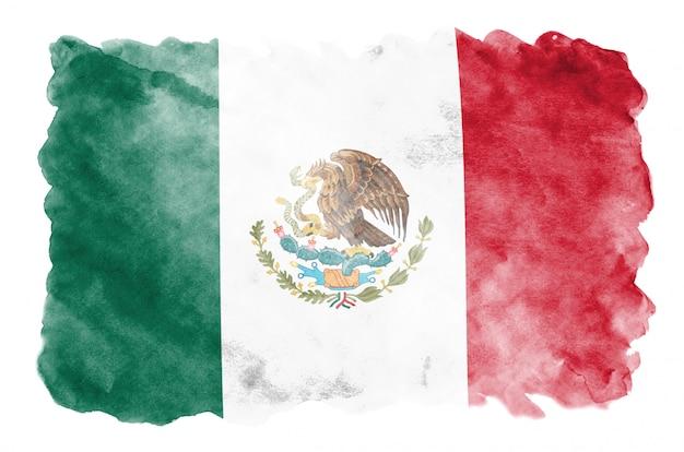 Le drapeau du mexique est représenté dans un style aquarelle liquide isolé sur blanc