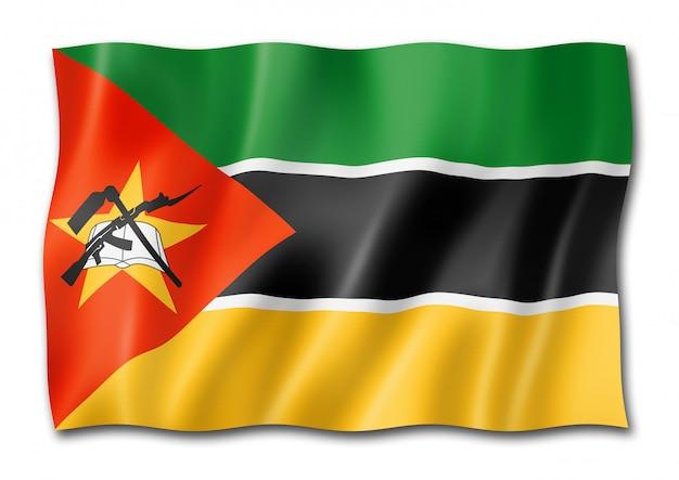 Drapeau du mozambique isolé sur blanc