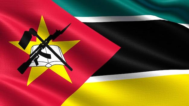 Drapeau du mozambique, avec texture de tissu ondulant