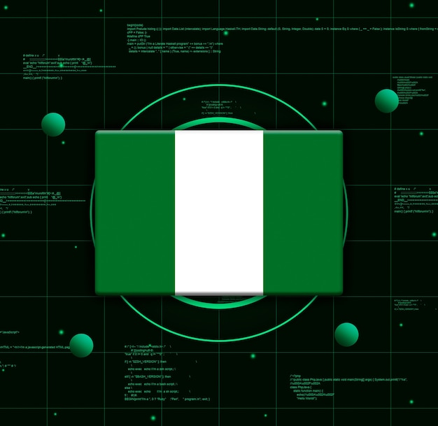 Drapeau du nigeria avec des éléments technologiques réalistes, rendu 3d