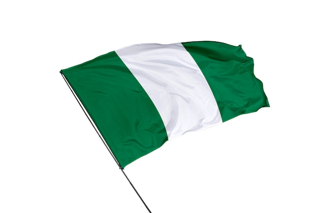 Drapeau du nigeria sur fond blanc