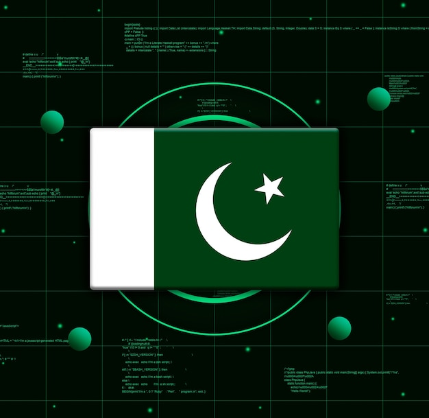 Drapeau du pakistan avec des éléments technologiques réalistes, rendu 3d