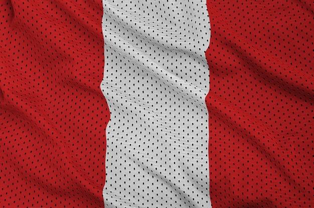 Drapeau du pérou imprimé sur un tissu de sportswear en nylon et polyester