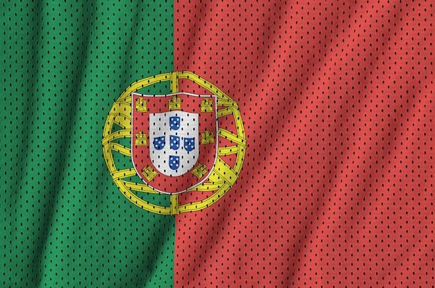 Drapeau du portugal imprimé sur un tissu en maille de sportswear en nylon et polyester