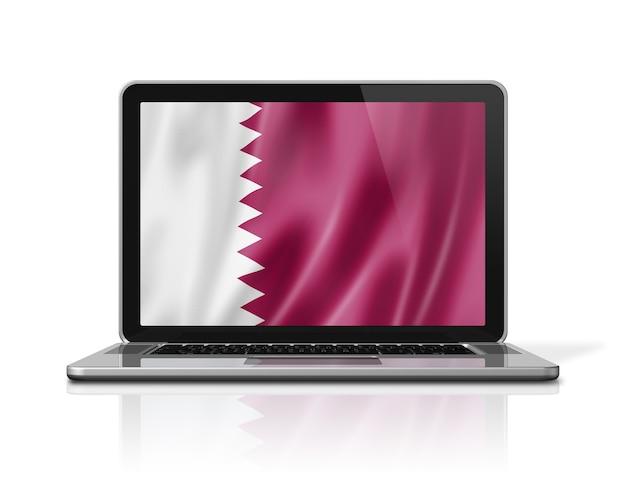 Drapeau du qatar sur écran d'ordinateur portable isolé sur blanc. rendu d'illustration 3d.