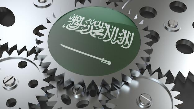 Drapeau du royaume d'arabie saoudite avec engrenages