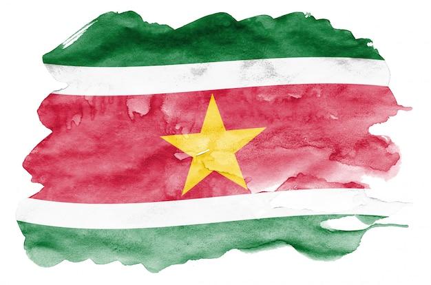 Le drapeau du suriname est représenté dans un style aquarelle liquide isolé sur blanc