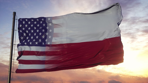 Drapeau du texas et des usa sur le mât. drapeau mixte usa et texas ondulant dans le vent