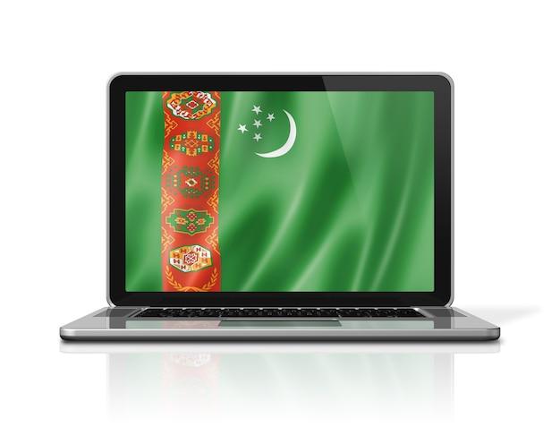 Drapeau du turkménistan sur écran d'ordinateur portable isolé sur blanc. rendu d'illustration 3d.