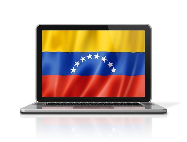 Drapeau du venezuela sur écran d'ordinateur portable isolé sur blanc. rendu d'illustration 3d.