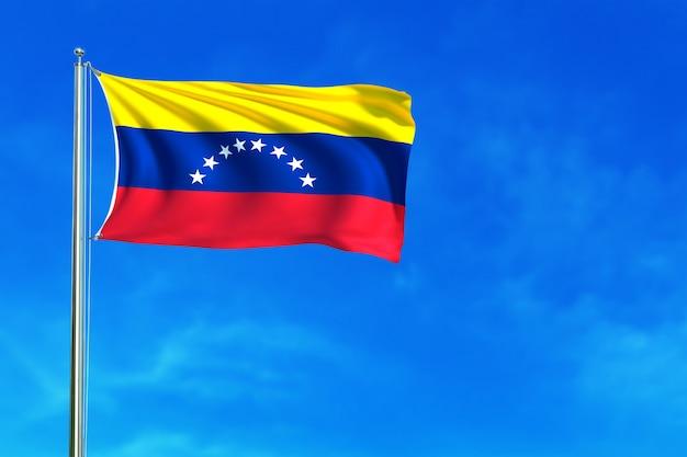 Drapeau du venezuela sur le fond de ciel bleu rendu 3d