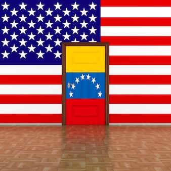 Drapeau du venezuela et des usa sur le mur et la porte. illustration 3d.