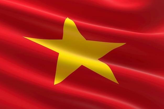 Drapeau du viêt nam. illustration 3d du drapeau vietnamien.
