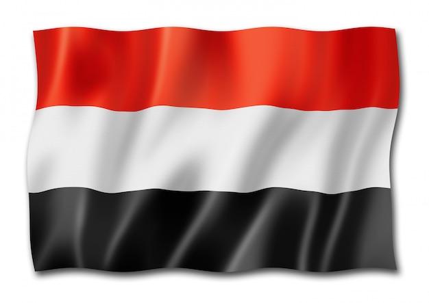 Drapeau du yémen isolé sur blanc