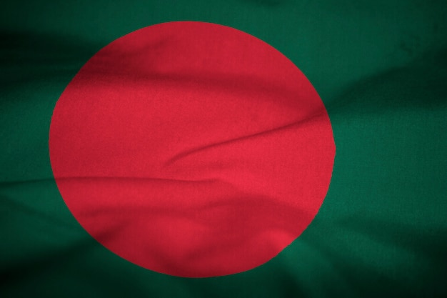 Drapeau ébouriffé du bangladesh qui souffle dans le vent