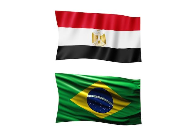Le drapeau de l'egypte et le drapeau du brésil sur fond blanc