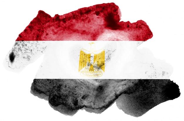 Drapeau de l'egypte est représenté dans un style aquarelle liquide isolé sur blanc