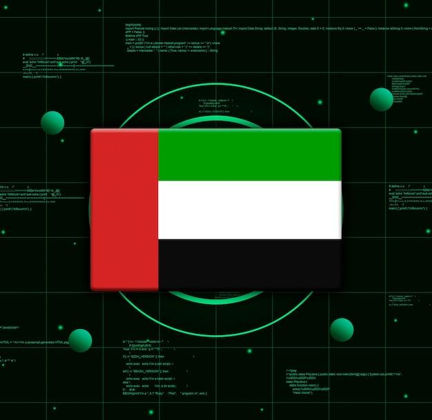 Drapeau des émirats arabes unis avec des éléments technologiques réalistes, rendu 3d