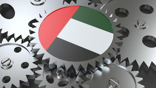 Drapeau des émirats arabes unis avec engrenages