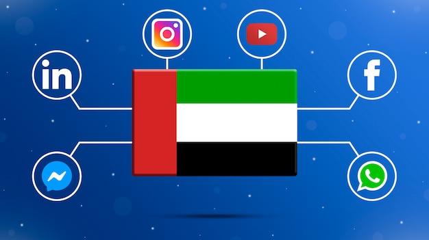 Drapeau des émirats arabes unis avec logos de médias sociaux 3d