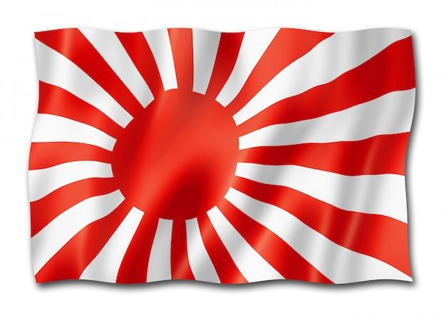 Drapeau de l'enseigne navale japonaise isolé sur blanc