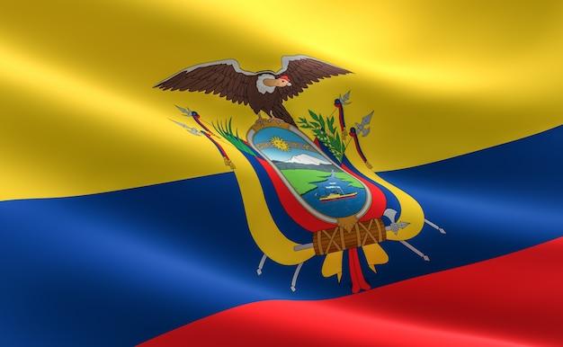 Drapeau de l'équateur. illustration du drapeau équatorien ondulant.