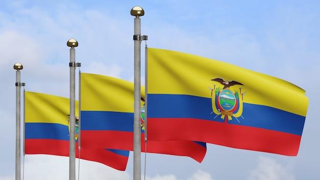 Drapeau équatorien en 3d sur le vent avec ciel bleu et nuages. bannière equateur soufflant, soie douce et lisse. fond d'enseigne de texture de tissu de tissu. utilisez-le pour le concept de fête nationale et d'occasions de pays