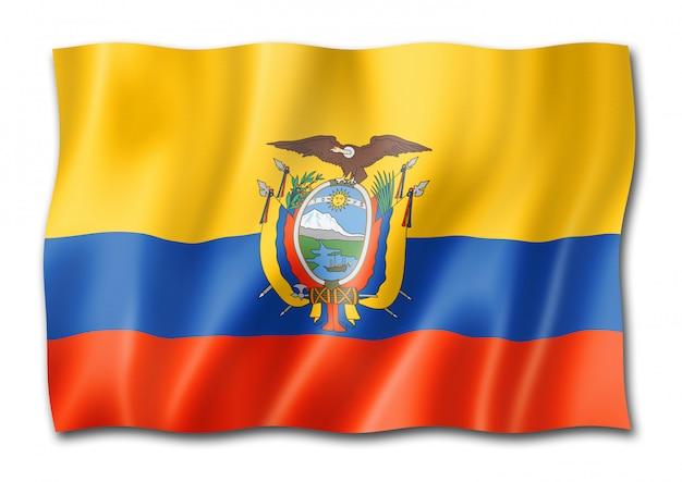 Drapeau équatorien isolé sur blanc