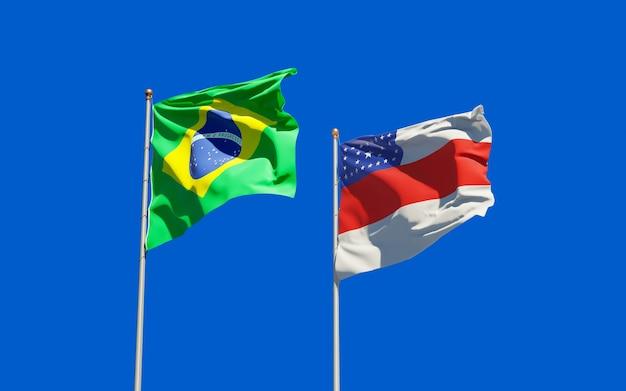 Drapeau de l'état du brésil amazonas. illustration 3d