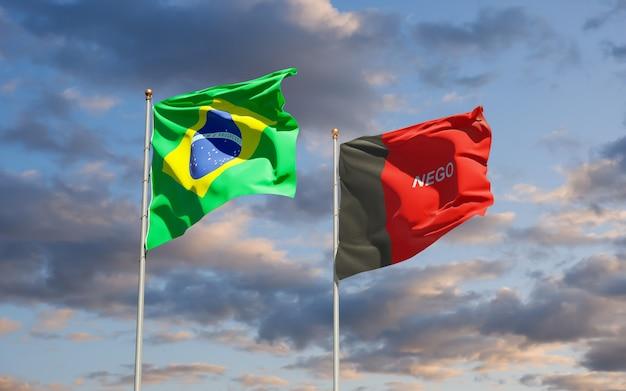 Drapeau de l'état du brésil paraiba. illustration 3d
