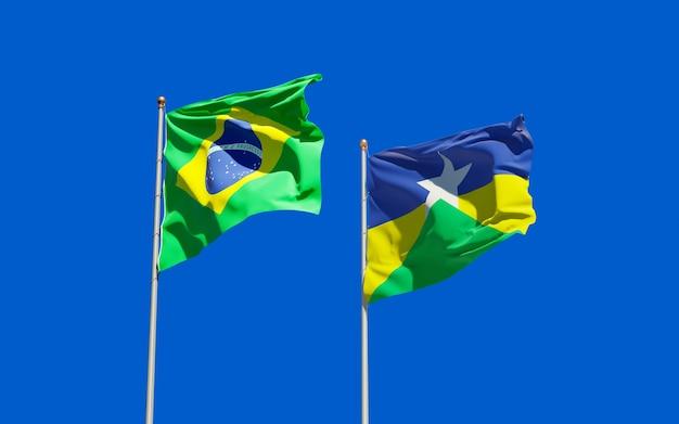 Drapeau De L'état Du Brésil Rondonia. Illustration 3d Photo Premium
