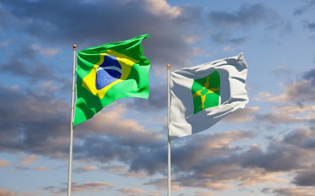 Drapeau de l'état fédéral du brésil distrito. illustration 3d