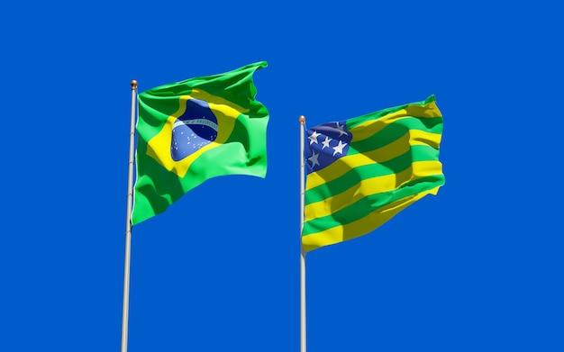 Drapeau de l'état de goias brésil. illustration 3d