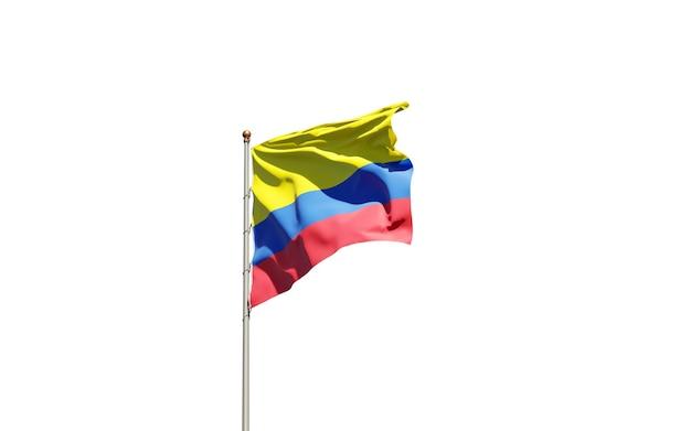 Drapeau d'état national de la colombie sur blanc