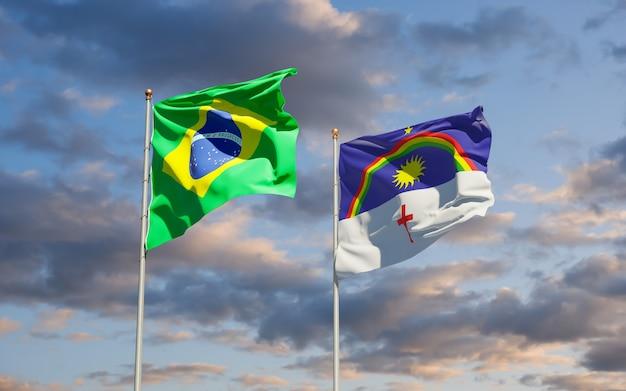 Drapeau De L'état De Pernambuco Brésil. Illustration 3d Photo Premium