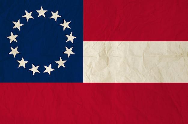Drapeau des états confédérés d'amérique avec la vieille texture de papier vintage