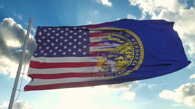 Drapeau des états-unis et de l'état du nebraska