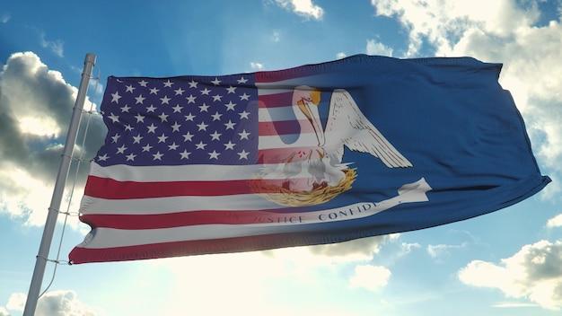 Drapeau des états-unis et de l'état de la louisiane