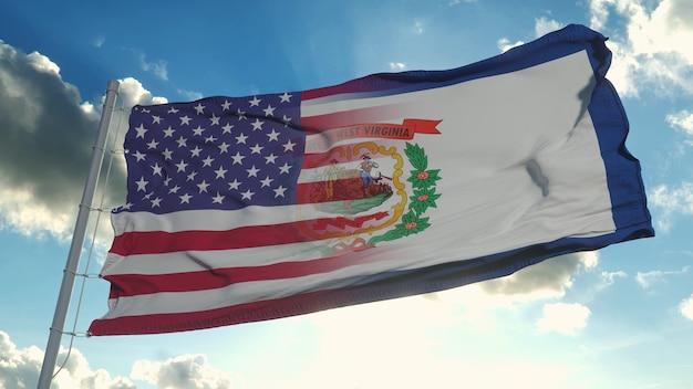 Drapeau des états-unis et de l'état de virginie-occidentale
